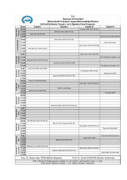 Final Programı - İnşaat Mühendisliği Bölümü