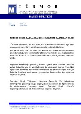 TÜRMOB Genel Başkanı Nail Sanlı 65. Hükümete Başarılar Diledi