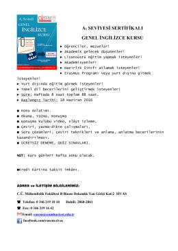 a1 seviyesi sertifikalı genel ingilizce kursu