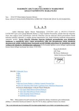 adalet bakanlığı personelı görevde yükselme sınav ilanı hakkında