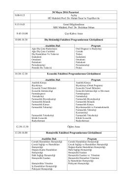30 Mayıs 2016 Pazartesi 9.00-9.15 Açılış HÜ Rektörü Prof. Dr. Haluk