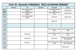 Prof. Dr. Mustafa YURDAKUL 2015