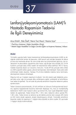 (LAM)`lı Hastada Rapamisin Tedavisi ile İlgili Deneyimimiz