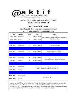 11-12 haziran 2016 - Aktif Akademi Eğitim Merkezi