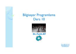Ders 9 (25.05.2016) - Yrd.Doç.Dr.Fatih AY