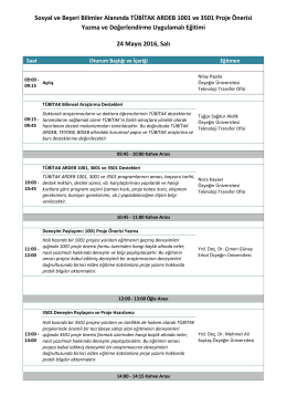 Sosyal ve Beşeri Bilimler Alanında TÜBİTAK ARDEB 1001 ve 3501