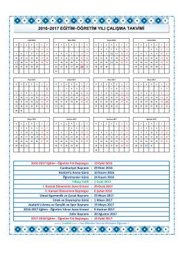 2016-2017 eğitim-öğretim yılı çalışma takvimi