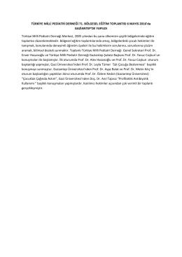 TÜRKİYE MİLLİ PEDİATRİ DERNEĞİ 71. BÖLGESEL EĞİTİM