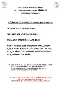 küçükler / yıldızlar/ gençler - Antalya Gençlik ve Spor İl Müdürlüğü