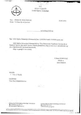Page 1 Tö. KİLİS VALİLİĞİ İl Millî Eğitim Müdürlüğü Sayı : 29444100