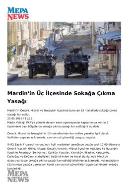 Mardin`in Üç İlçesinde Sokağa Çıkma Yasağı
