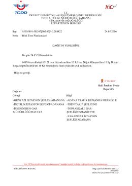 24.05.2016 - Devlet Demir Yollari 6.Bölge