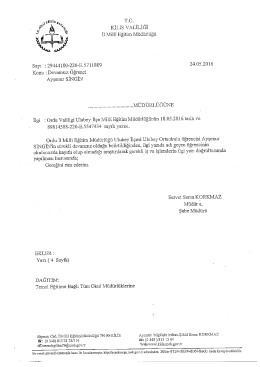 Page 1 T.C. KİLİS VALİLİĞİ İl Millî Eğitim Müdürlüğü Sayı