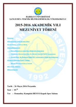 2015-2016 akademik yılı mezuniyet töreni