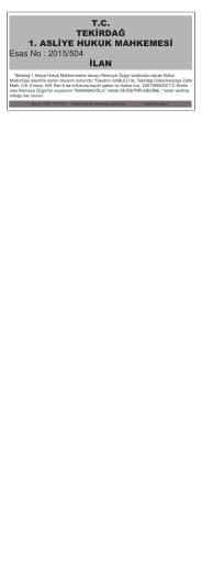 TC TEKİRDAĞ 1. ASLİYE HUKUK MAHKEMESİ Esas No : 2015/504
