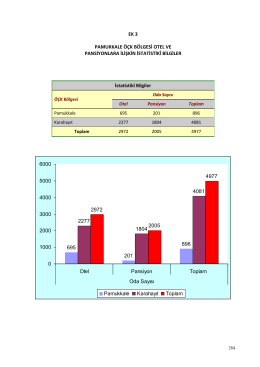 Pamukkale ÖÇK Bölgesi Otel ve Pansiyonlara İlişkin İstatistikî Bilgiler