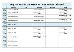 Doç. Dr. Sinan KILIÇASLAN 2015