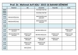 Prof. Dr. Mehmet Arif ADLI 2015