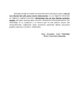 Bakanlığımıza bağlı resmi eğitim kurumlarında yönetici olarak görev
