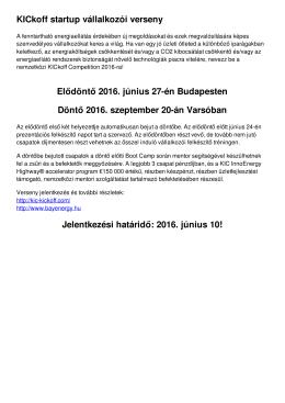 KICkoff startup vállalkozói verseny Elődöntő 2016. június 27