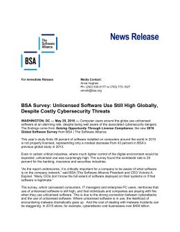 News Release - BSA Global Software Survey