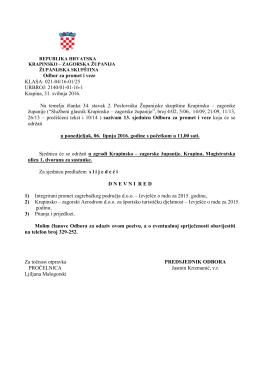Sjednica Odbora za promet i veze - Krapinsko