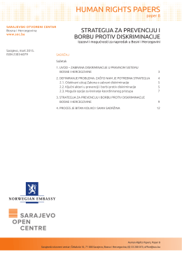 Strategija za prevenciju i borbu protiv diskriminacije. Izazovi i