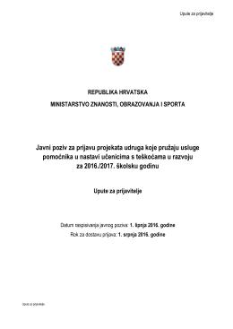 Upute za prijavitelje - Ministarstvo znanosti, obrazovanja i športa