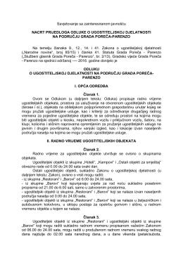 Prijedlog Odluke o ugostiteljskoj djelatnosti-ZA JAVNO