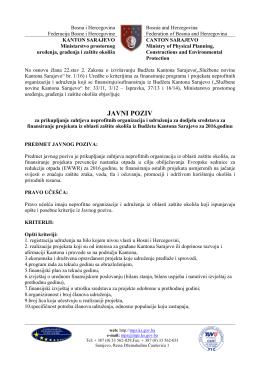 javni poziv - Ministarstvo prostornog uređenja, građenja i zaštite