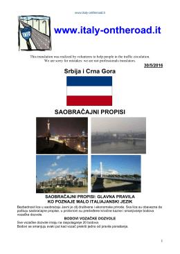 Srbija i Crna Gora SAOBRAČAJNI PROPISI