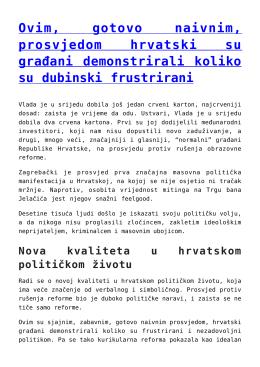 Ovim, gotovo naivnim, prosvjedom hrvatski su građani
