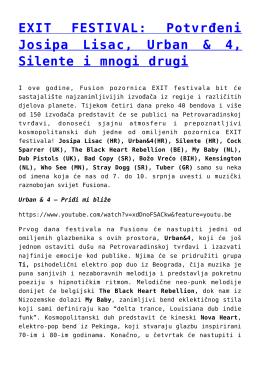 Potvrđeni Josipa Lisac, Urban & 4, Silente i mnogi drugi