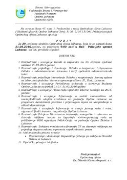 Poziv za 39. sjednicu OV Lukavac
