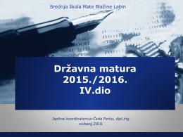 ispita državne mature - Srednja škola Mate Blažine Labin