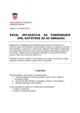 Upute za Excel DI obrazac