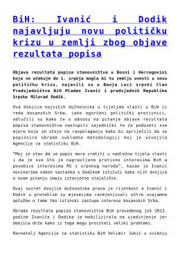 BiH: Ivanić i Dodik najavljuju novu političku krizu u