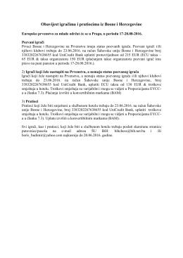 Obavijest igračima i pratiocima iz Bosne i Hercegovine
