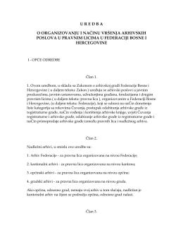 Uredba o organizovanju i načinu vršenja arhivskih