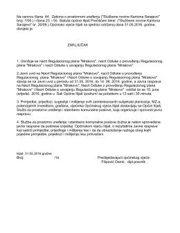 """Zaključak o utvrđivanju Regulacionog plana """" Mrakovo"""""""