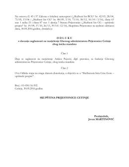 """Na osnovu čl. 45 i 57 Zakona o lokalnoj samoupravi (""""Službeni list"""