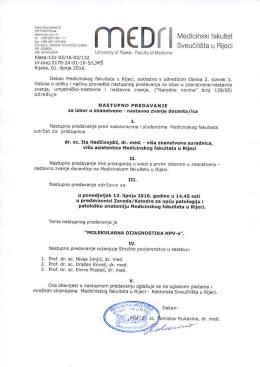Nastupno predavanje dr. sc. Ite Hadžisejdić, dr. med.
