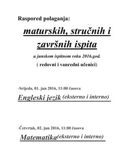 maturskih, stručnih i završnih ispita u junskom ispitnom roku 2016.god.