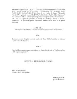 Na osnovu člana 45 stav 1 tačka 17 Zakona o lokalnoj samoupravi