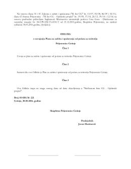 """Na osnovu člana 35 i 41 Zakona o zaštiti i spašavanju (""""Sl. list CG"""