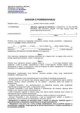 Ugovor o posredovanju - Moj dom, nekretnine Novi Sad