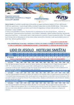 Cenovnik LIDO DI JESOLO 2016 Hoteli