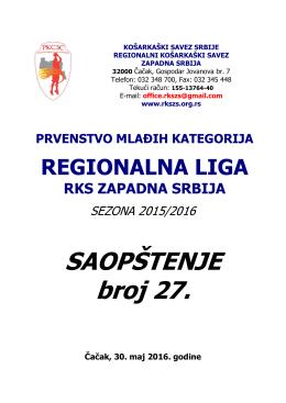 SAOPŠTENJE broj 27. - regionalni kosarkaski savez zapadna srbija