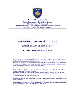 Programi legislativ per vitin 2016