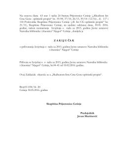 Na osnovu člana 63 stav 1 tačka 24 Statuta Prijestonice Cetinje